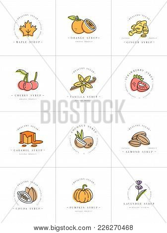 Vector Set Design Colorful Templates Logo And Emblems - Syrups And Toppings. Food Icon. Logos In Tre