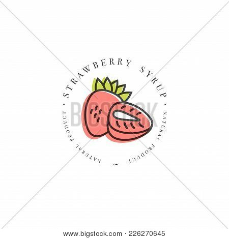 Packaging Design Template Logo And Emblem - Syrup And Topping - Pink Strawberry. Logo In Trendy Line