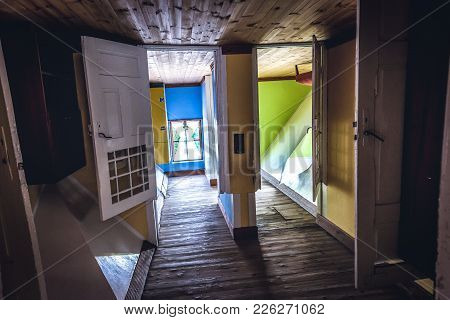 Szymbark, Poland - September 10, 2016: Interior Of Wooden Upside Down House In Open Air Museum In Sz