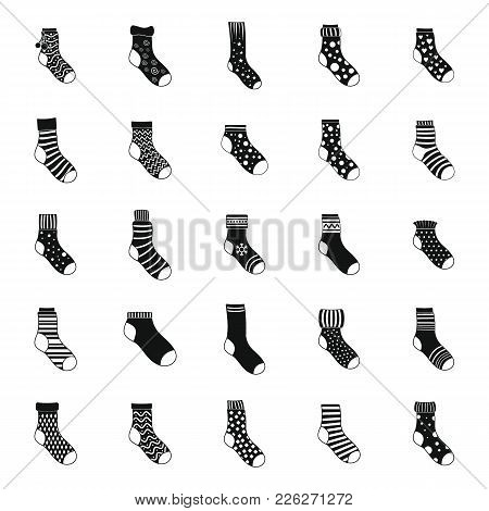 Socks Textile Icons Set. Simple Illustration Of 25 Socks Textile Vector Icons For Web