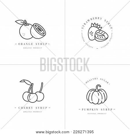 Vector Set Design Monochrome Templates Logo And Emblems - Syrups And Toppings-orange, Cherry, Strawb