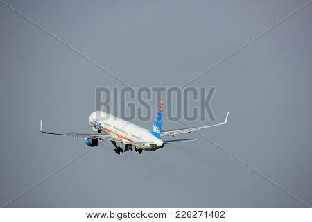 Amsterdam, The Netherlands  -  June 2nd, 2017: 4x-bau Arkia - Israeli Airlines Boeing 757 Taking Off