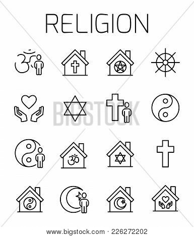 Religion Related Vector Icon Set. Well-crafted Sign In Thin Line Style With Editable Stroke. Vector