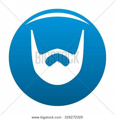 Neat Beard Icon Vector Blue Circle Isolated On White Background
