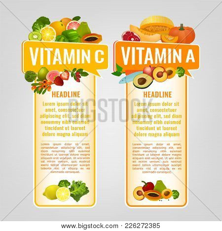 Vitamin A And Vitamin C Banners With Place For Text. Vertical Vector Illustrations With Caption Lett