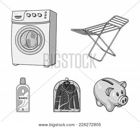 Dryer, Washing Machine, Clean Clothes, Bleach. Dry Cleaning Set Collection Icons In Monochrome Style