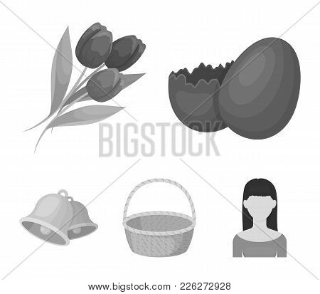 Chocolate Egg, Bells, Basket And Flowers.easter Set Collection Icons In Monochrome Style Vector Symb