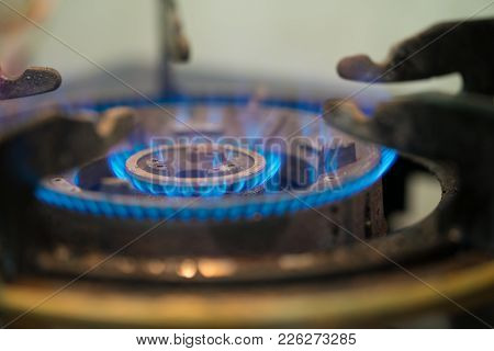 Fire Gas Stove.blue Fire In Gas Burner.