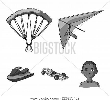 Hang Glider, Parachute, Racing Car, Water Scooter.extreme Sport Set Collection Icons In Monochrome S