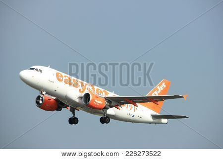 Amsterdam The Netherlands - July 6th, 2017: G-ezij Easyjet Airbus A319 Takeoff From Polderbaan Runwa