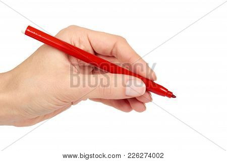 Red Felt Tip Pen In Hand, Isolated On White Background.