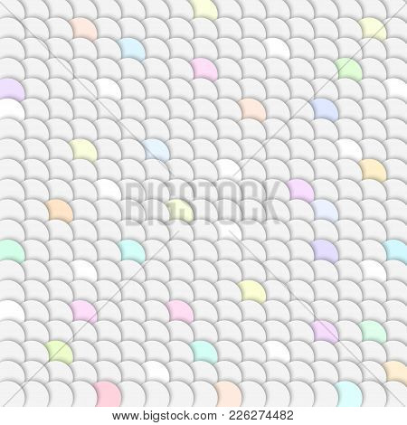 White Background With Fish Scales. Pattern With Reptilian Scales. Fantasy Illustration. Vector