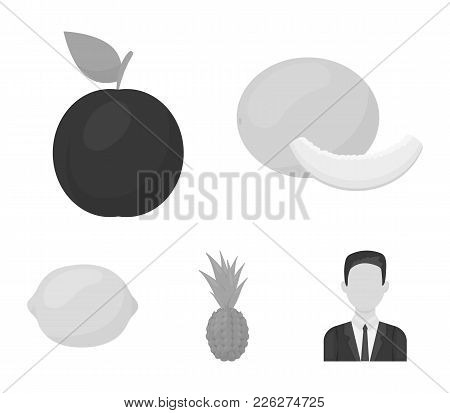 Melon, Plum, Pineapple, Lemon.fruits Set Collection Icons In Monochrome Style Vector Symbol Stock Il
