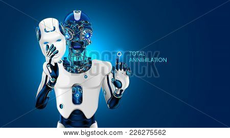 Artificial Intelligence Destroy Humanity. Robot Removes The Anthropomorphic Mask. Ai Gives The Comma