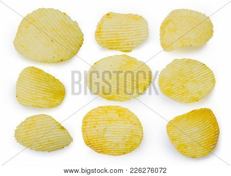 Collection Of Fried Potato Chips Snack In White Bowl Isolated On White Background, Junk Food. File C