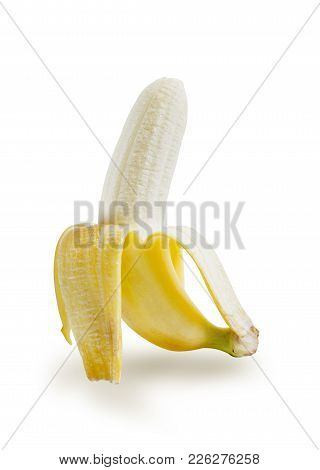 Tropical Fruit, Banana Peeled Isolated On White Background, File Contains A Clipping Path.