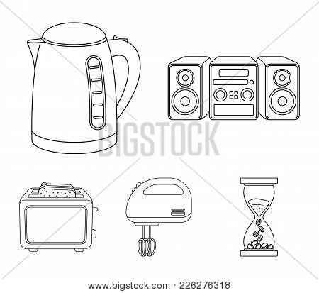 Electric Kettle, Music Center, Mixer, Toaster.household Set Collection Icons In Outline Style Vector