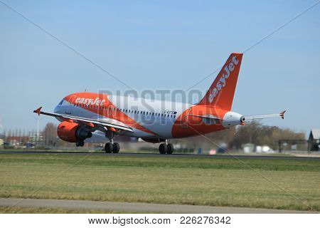 Amsterdam The Netherlands - March 25th, 2017: G-ezfs Easyjet Airbus A319-100 Takeoff From Polderbaan
