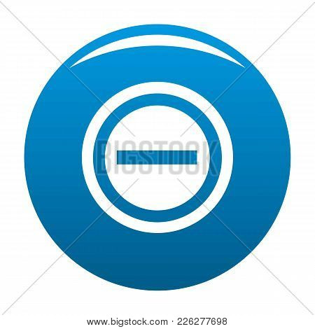 Minus Icon Vector Blue Circle Isolated On White Background