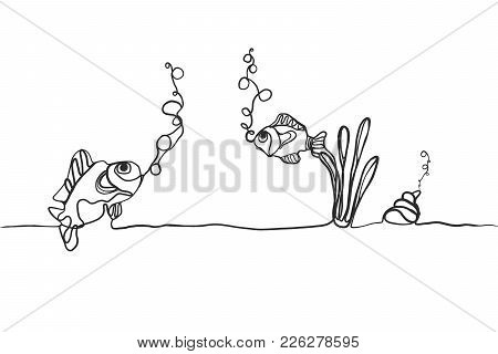 Hand Drawing Of Fishes And Shellfish Breathing Oxygen Underwater On Floor.