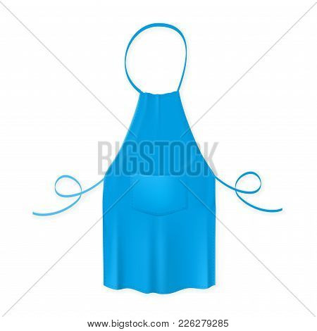 Blank Blue Kitchen Apron Isolated On The White Background. Vector Illustration Of The Protective Gar
