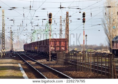 Freight train on the rails