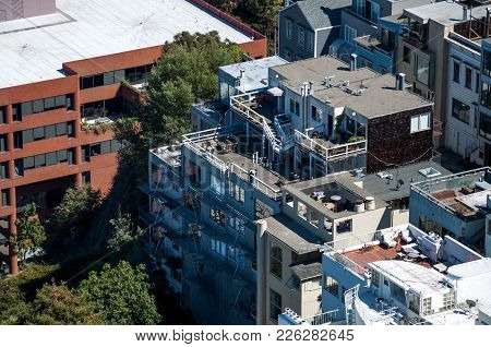San Francisco, California - September 9, 2015 - View Of Residential Buildings With Roof Terraces Fro