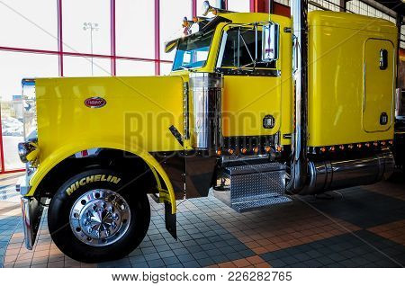 Omaha, Nebraska - February 24, 2010 - Yellow Peterbilt 379 Semi Truck Displayed At Iowa 80 Truckstop