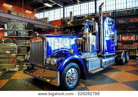 Omaha, Nebraska - February 24, 2010 - Blue Kenworth W900 Semi Truck Displayed At Iowa 80 Truckstop.