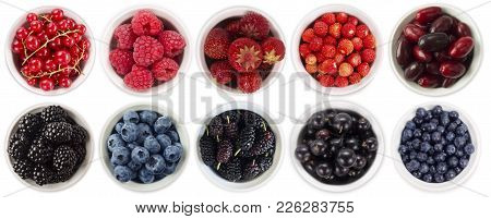 Black-blue And Red Berries Isolated On White Background. Collage Of Different Fruits And Berries. Bl