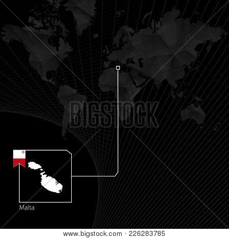 Malta On Black World Map. Map And Flag Of Malta.