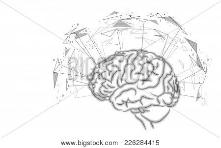 Active Human Brain Artificial Intelligence Next Level Man Menthal Abilities. Technology Low Poly Des