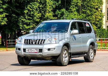 Moscow, Russia - July 7, 2012: Off-road Vehicle Toyota Land Cruiser Prado 120 In The City Street.