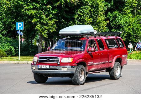 Moscow, Russia - July 7, 2012: Off-road Vehicle Toyota Tundra In The City Street.