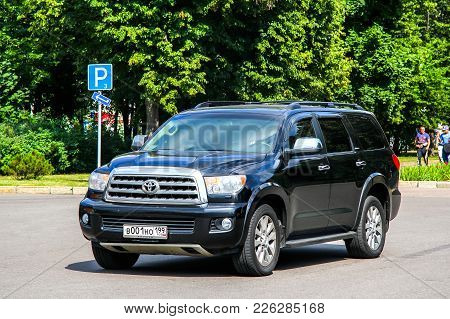 Moscow, Russia - July 7, 2012: Off-road Vehicle Toyota Sequoia In The City Street.