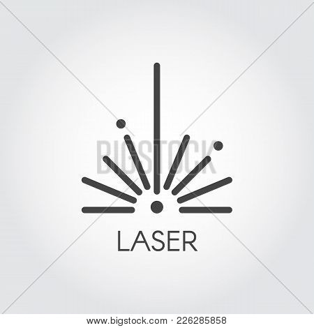 Laser Ray Half Circle Icon Drawing In Outline Design. Graphic Thin Line Stroke Pictograph. Technolog
