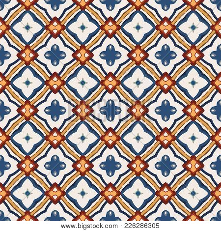 Seamless Illustrated Pattern Made Of Abstract Elements In Beige, Yellow, Brown And Shades Of Blue