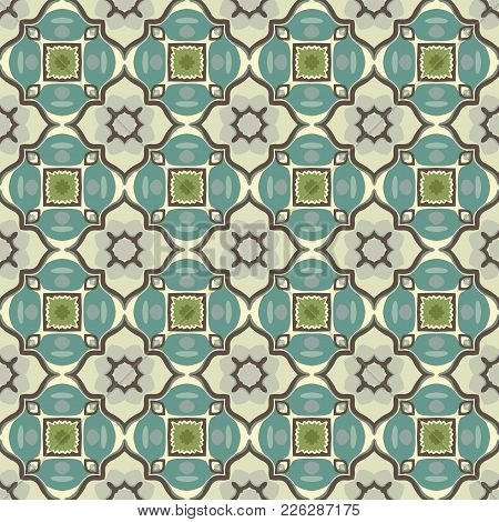 Seamless Illustrated Pattern Made Of Abstract Elements In Beige, Turquoise, Green, Gray And Dark Bro