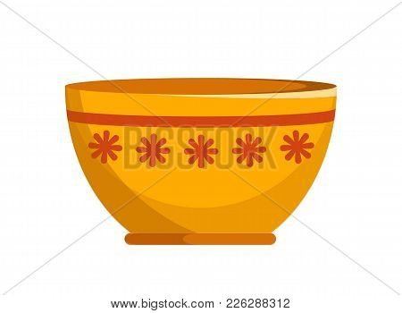 Capacious Ceramic Bowl With Small Flowers Pattern And Thin Stripe. Convenient Kitchenware Isolated C