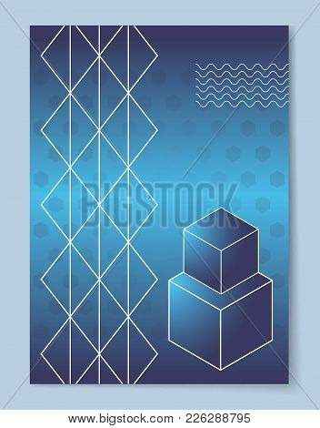 Big And Small Cubes That Stand One On Another And Thin Lattice Cartoon Vector Illustration On Abstra