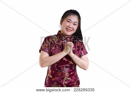 Portrait Of Asian Woman In Traditional Chinese Long Dress, Cheongsam, Black Hair, Nice Smile With Gr