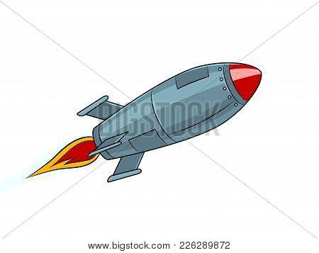 Rocket Missile Flying Pop Art Style Vector Illustration. Isolated Image On White Background. Comic B