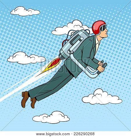 Man Flying Jet Pack Pop Art Style Vector Illustration. Human Illustration. Comic Book Style Imitatio