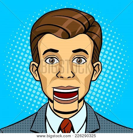 Speaking Puppet Head Pop Art Style Vector Illustration. Conceptual Political Lie Metaphor. Comic Boo