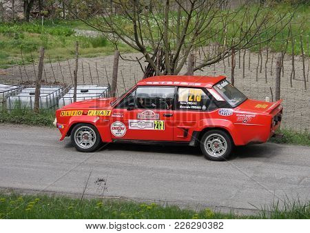 Grondona Italy - June 1 2014 - Golden Cup Rally: A Fiat 131 Abarth Engaged On The Time Trial Of Gron