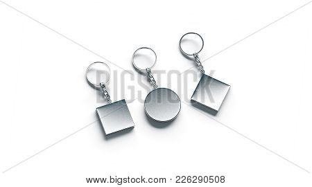 Blank Silver Key Chain Mock Ups Side Set View, 3d Rendering. Clear Silvery Circular Square Rhombus K