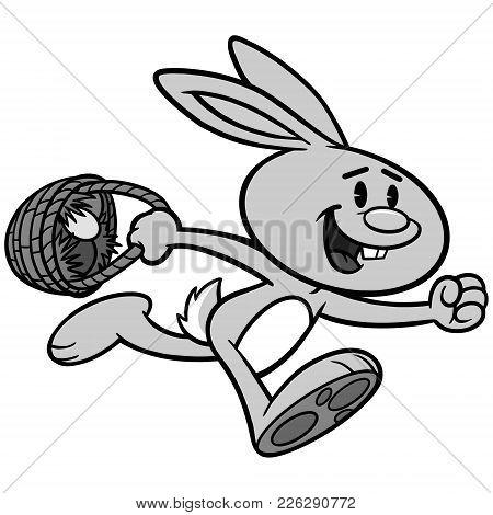 Easter Egg Hunt Illustration - A Vector Cartoon Illustration Of A Easter Rabbit Running With A Baske