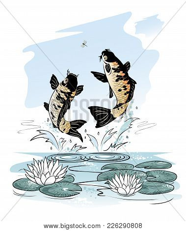 Two Carp Jump Out From Water After A Dragon-fly On Sky Background