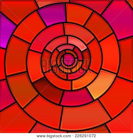 Abstract Vector Stained-glass Mosaic Background - Red Spiral