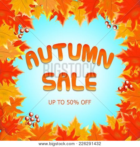 Autumn Sale Vectordesign With Autumn Sale Text In Blue Background And Collection Of Fall Seasonal Le